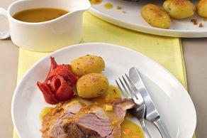 Rezept: Geschmorte Lammschulter im Ingwer- Safransud mit Kartoffel- Paprikagemüse